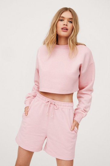Blush Oversized Adjustable Drawstring Jogger Shorts