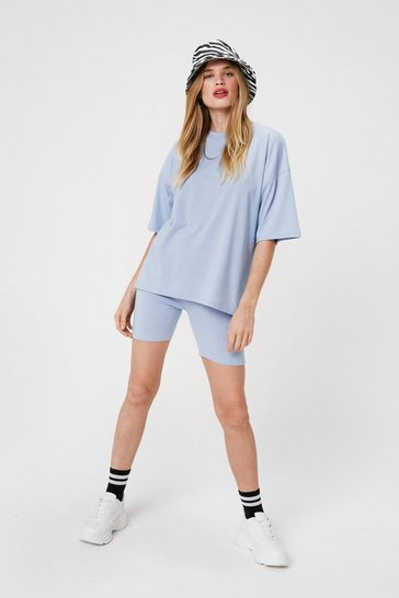 Blue Jersey Oversized Crew Neck T-Shirt