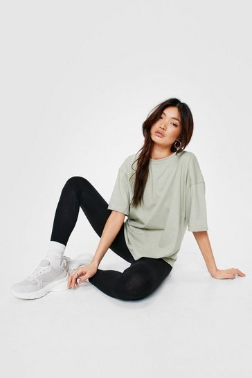 Sage Jersey Oversized Crew Neck T-Shirt