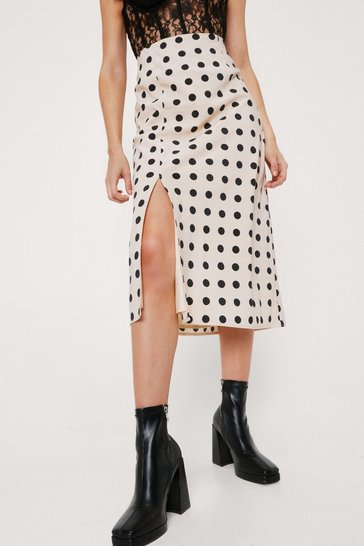 Beige Polka Dot Split Front High Waisted Midi Skirt