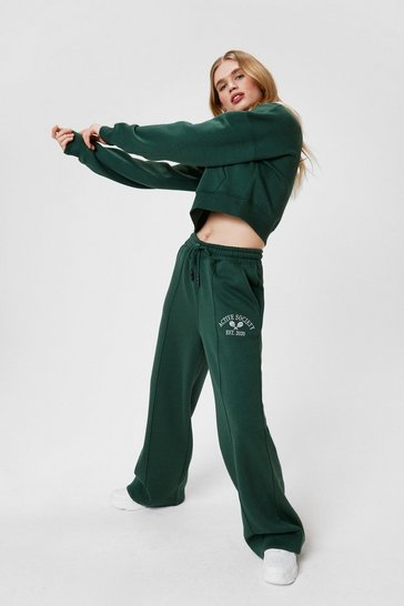 Green Active Society Embroidered Wide Leg Pants