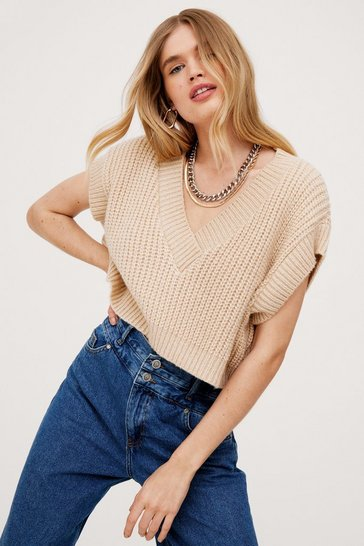 Oatmeal V Neck Chunky Knit Cropped Tank Top