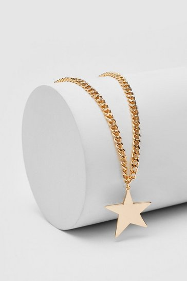 Gold Star Pendant Curb Chain Necklace