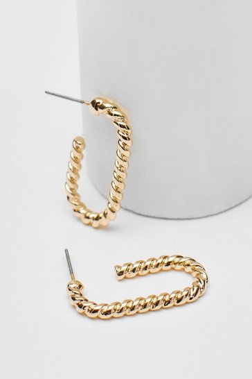 Gold Twisted Oval Hoop Earrings