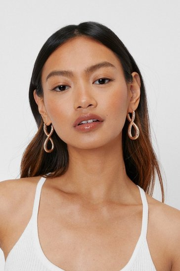 Gold Textured Loop Hoop Earrings