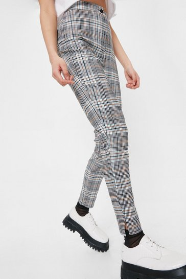 Multi High Waisted Plaid Print Skinny Pants