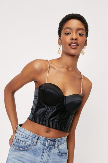 Black Satin Boned Chain Strap Corset Top