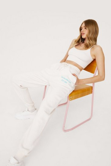 Ivory The Wellness Club Oversized Embroidered Joggers