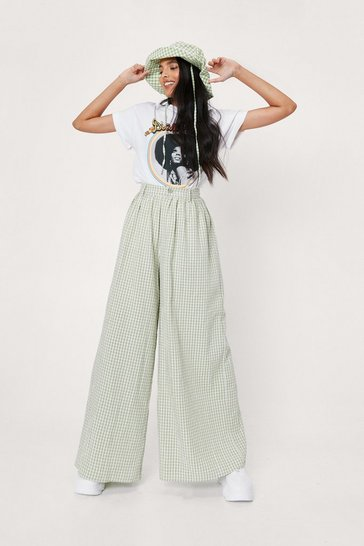 Apple green Gingham Print Extreme Wide Leg Pants