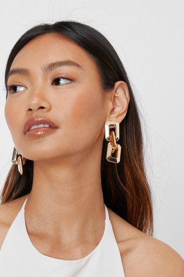 Gold Chunky Square Link Drop Earrings