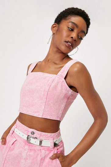 Crop top en jean délavé à l'acide à col carré, Hot pink