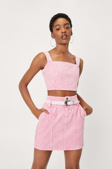 Hot pink Acid Wash Denim Mini Skirt