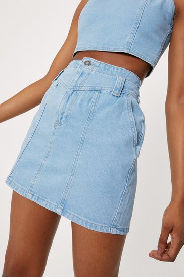 Light blue Acid Wash Denim Mini Skirt