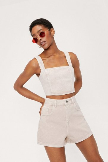 Stone Square Neck Denim Crop Top