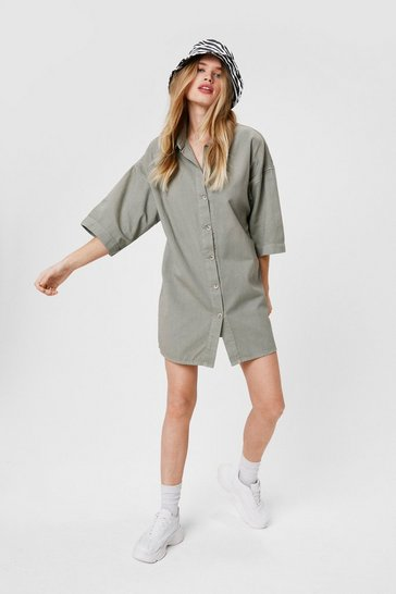 Sage Denim Button Down Mini Shirt Dress