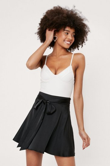 Black Tie Front Satin Mini Skirt