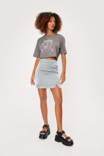 Sage Split Hem Front Satin Mini Skirt