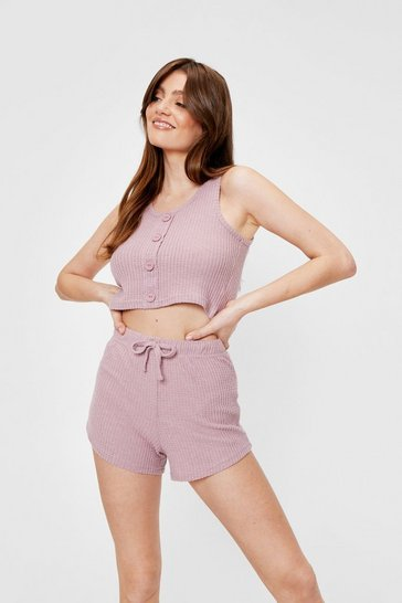 Mauve Waffle Button Down Crop Top and Shorts Pajama Set