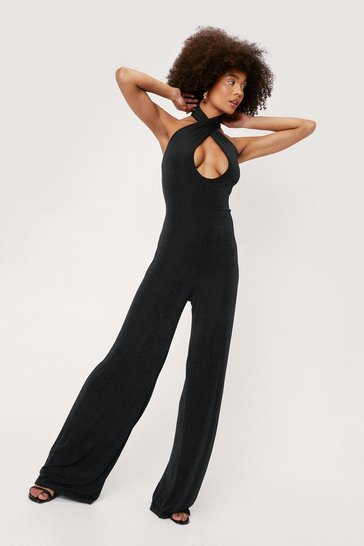 Black Cross Over Halterneck Sleeveless Jumpsuit