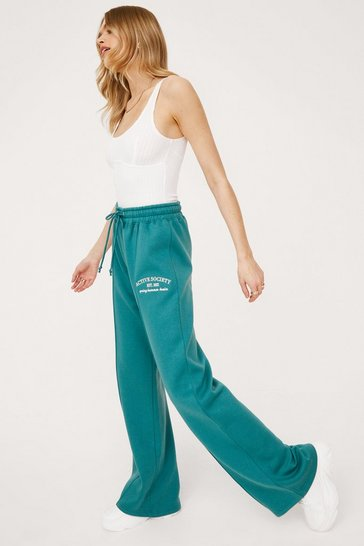 Pantalon de jogging ample à broderie Active Society, Teal