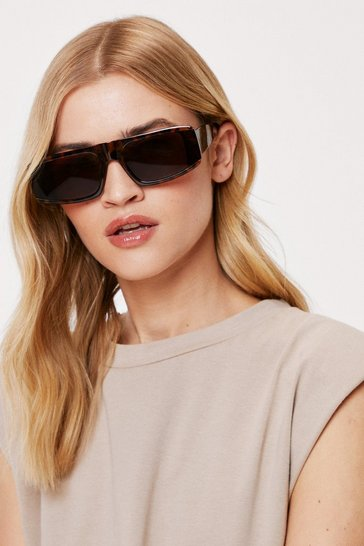 Brown Tortoiseshell Flap Top Rectangle Sunglasses