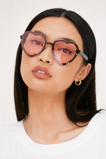 Baby pink Oversized Tinted Heart Frame Sunglasses