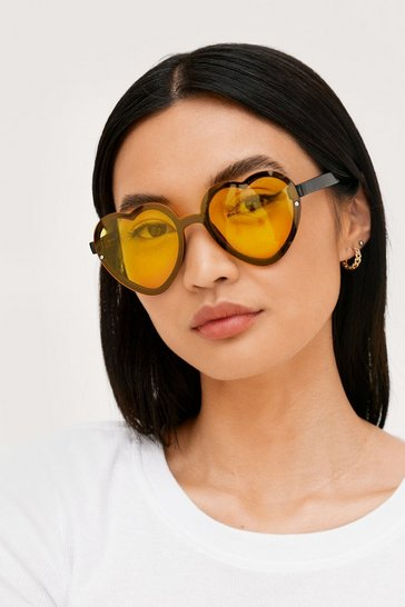 Yellow Oversized Tinted Heart Frame Sunglasses