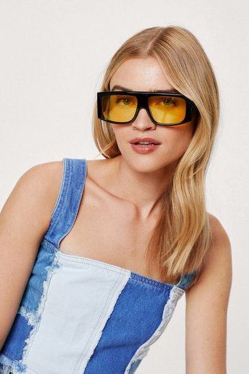 Black Thick Tinted Flat Top Square Sunglasses