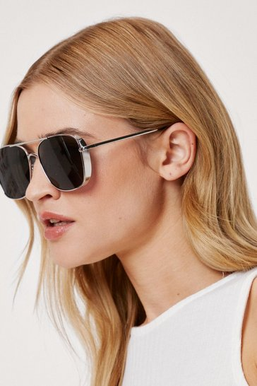 Silver Smoke Lense Square Aviator Sunglasses