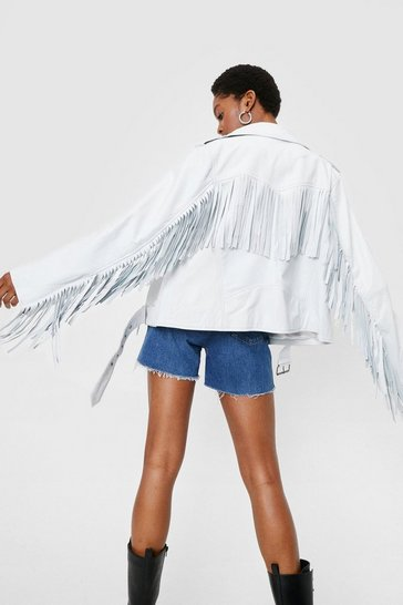 White Oversized Leather Fringed Moto Jacket