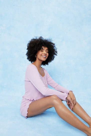 Mauve Waffle Long Sleeve Pajama Top and Shorts Set