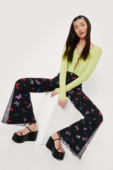 Multi Mesh Butterfly Print High Waisted Flare Pants
