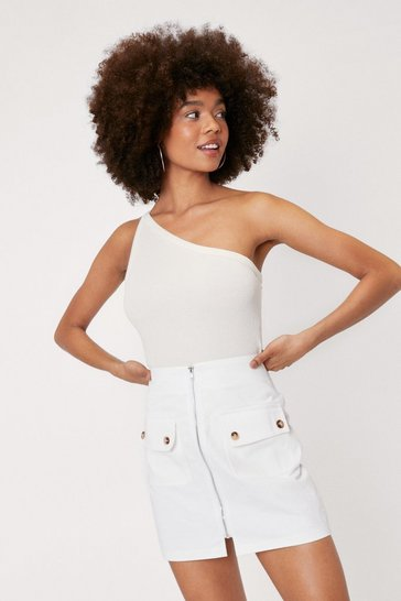 White High Waisted Zip Flap Top Pocket Mini Skirt
