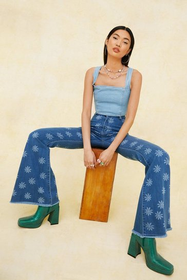 Light blue High Waisted Daisy Print Flared Pants