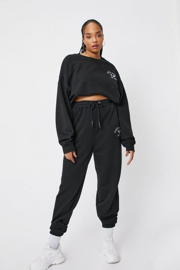Black Plus Size Active Society Embroidered Joggers