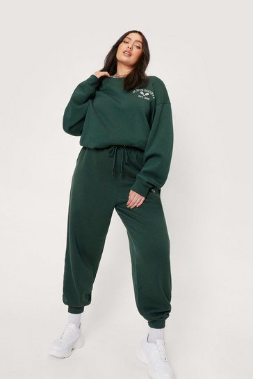 Green Plus Size Active Society Embroidered Joggers