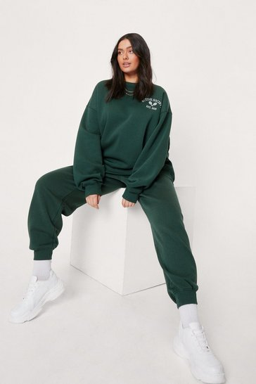 Green Plus Size Active Society Embroidered Sweatshirt
