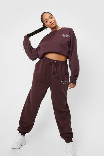 Chocolate Plus Size Athletisme Embroidered Joggers