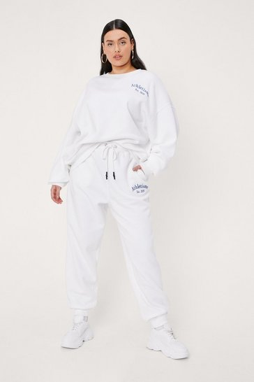 White Plus Size Athletisme Embroidered Joggers