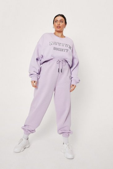 Lilac Plus Size Active Society Graphic Joggers