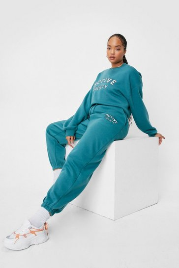 Teal Plus Size Active Society Graphic Joggers