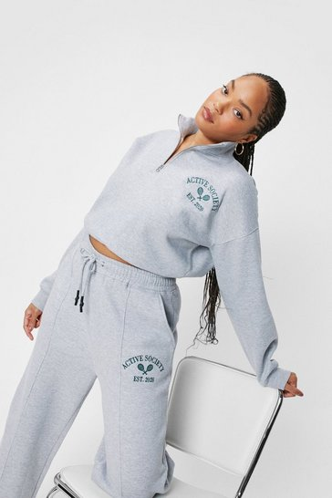 Grey marl Plus Size Active Society Zip Sweatshirt