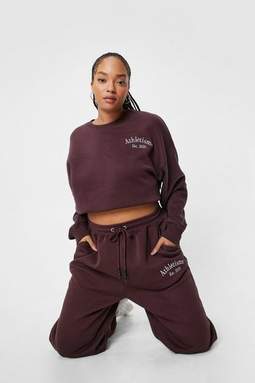 Plus Size Athletisme Embroidered Sweatshirt, Chocolate