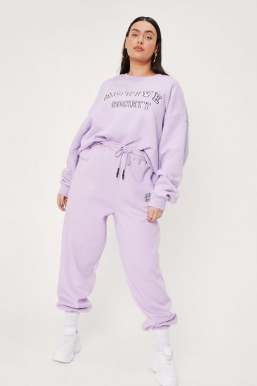 Lilac Plus Size Active Society Embroidered Sweatshirt
