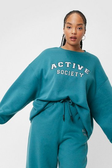 Plus Size Active Society Embroidered Sweatshirt, Teal