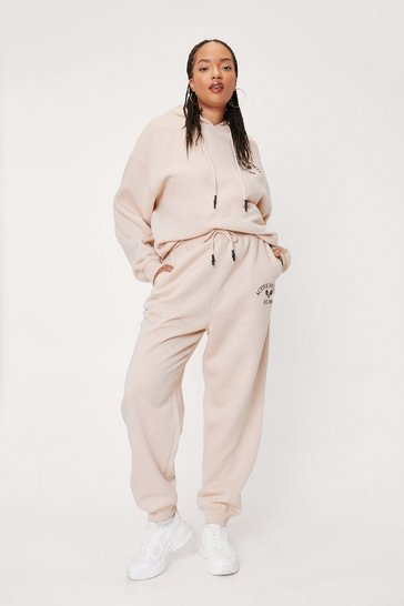 Sand Plus Size Active Society Slogan Sweatpants