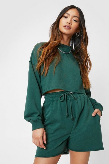 Green Petite Cropped Sweatshirt and Shorts Lounge Set