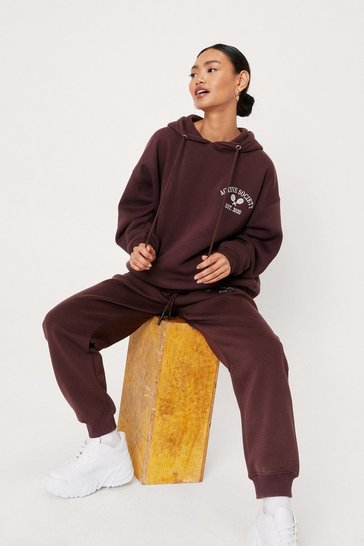 Chocolate Petite Active Society Embroidered Hoodie