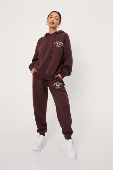 Chocolate Petite Active Society Graphic Sweatpants