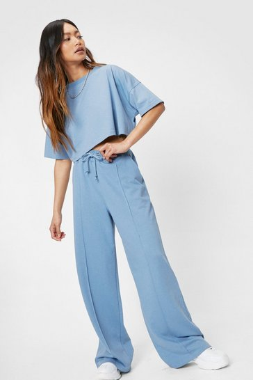 Dusty blue Petite Cropped T-Shirt and Wide Leg Pants Set